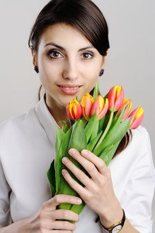 Free Young Woman With Tulips Stock Image - 18362261