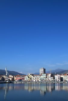 The Port Of Imperia, ,houses,quay-crane ,Italy Royalty Free Stock Image
