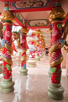 A Beautiful Corridor In Chinese Temple Royalty Free Stock Image