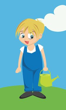 Free Boy In Overalls Royalty Free Stock Photography - 18363167