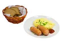 Free Sausages With Mashed Potatoes Royalty Free Stock Photo - 18366405
