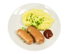 Free Sausages With Mashed Potatoes Royalty Free Stock Photos - 18366408