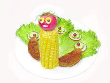 Creative Vegetable Peacock Bird With Corn Stock Photography