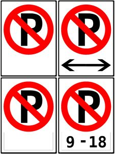 Free No Parking/Parking Restriction Signs Stock Image - 18367701