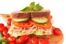 Free Tasty Ham, Tomato And Cucumber Sandwich Stock Photos - 18368723