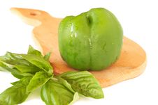 Fresh Green Pepper And Basil Royalty Free Stock Images