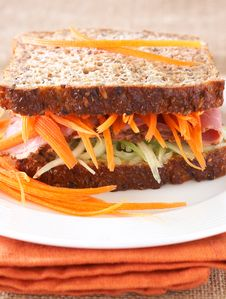 Free Tasty Beef Sandwich On Wholewheat Bread Stock Photography - 18368742