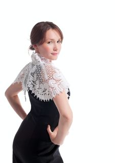 Free Beauty Woman With White Lace Tippet On Spine Stock Photo - 18368790