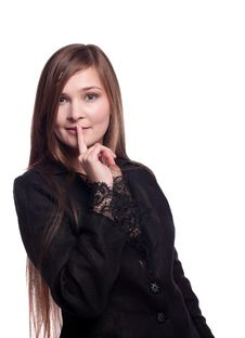 Free Young Woman In Business Suit - Silence Sign Stock Image - 18368811