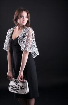 Beauty Young Woman In Lacy Jacket And Handbag Royalty Free Stock Photos