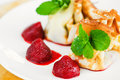 Free Crepes With Curd Cheese And Strawberries Stock Photos - 18372173