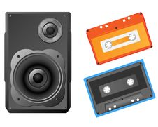 Free Musical Speaker And Audiocassette Stock Photography - 18370032