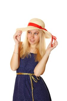 Free Beautiful Young Blond Woman In A Straw Hat Royalty Free Stock Images - 18370429