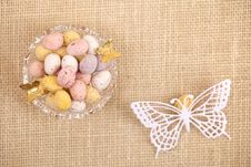 Free Easter Chocolate Speckled Eggs In Bowl Butterfly Royalty Free Stock Photo - 18370475