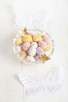 Free Easter Chocolate Speckled Eggs In Bowl Royalty Free Stock Image - 18370576