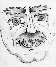Free Sad Old Man Pencil Drawing Royalty Free Stock Photos - 18372778
