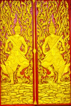 Thai Style Carved Door Royalty Free Stock Image