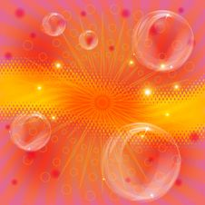 Background With Beams And Bubbles Royalty Free Stock Images