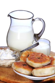 Milk, Sour Cream And Pies. Stock Image