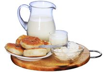 Milk, Sour Cream And Pies. Royalty Free Stock Photography