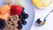 Breakfast Of Berries, Melon, Muesli, Orange Juice Royalty Free Stock Photo