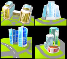 Free Set Of Four Buildings. Stock Photography - 18374212