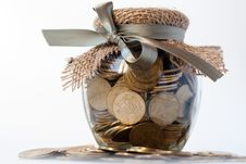 Free Glass Jar With Coins Stock Image - 18375131