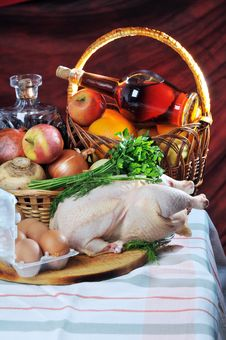 Free Crude Meat, Fruit And Alcohol. Stock Photos - 18375203