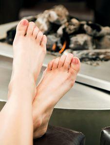 Free Female Feet Fireplace Stock Image - 18375581