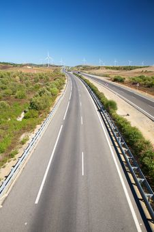 Free Far Windmills And Highway Stock Images - 18375914