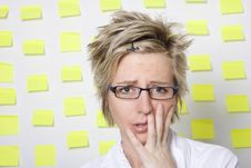Free Portrait Of Business Woman With Note Papers Royalty Free Stock Photography - 18376407
