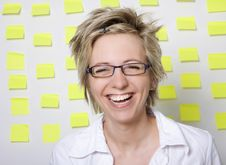 Free Portrait Of Business Woman With Note Papers Stock Photos - 18376523