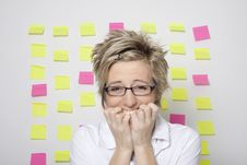 Free Portrait Of Business Woman With Note Papers Stock Photography - 18376642