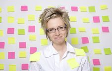 Free Portrait Of Business Woman With Note Papers Royalty Free Stock Photo - 18376945
