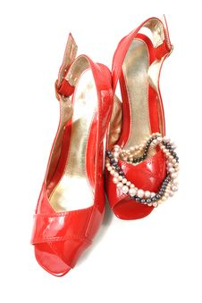 Woman Red Shoe Stock Image
