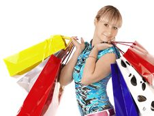 Free Girl With Shopping Bags Stock Photo - 18377340