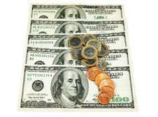 Free Dollars And Euro Coins Stock Image - 18377711