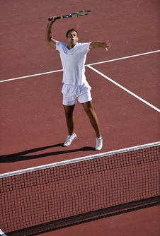 Young Man Play Tennis Royalty Free Stock Photo