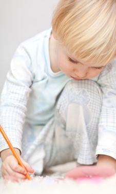 Free Nice Little Boy Writting Something On The Floor Royalty Free Stock Photos - 18378268