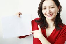 Free Young Woman Pointing A Paper Royalty Free Stock Image - 18379256