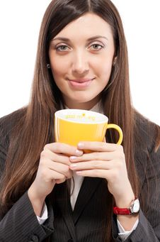 Free Portrait Of  Girl In Business Suit With Cup Royalty Free Stock Images - 18379589