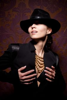 Woman With Open Lips In Black Hat Stock Images