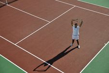 Young Man Play Tennis Stock Images