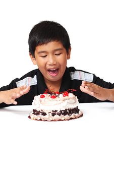 Kid With Cake Stock Photos