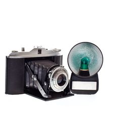 Old Camera With Flash Stock Photo
