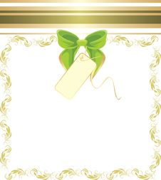 Free Green Bow In The Decorative Frame Royalty Free Stock Photography - 18381877