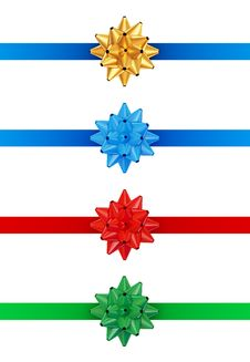 Free Colorful Ribbons And Bows Set. Stock Images - 18381944