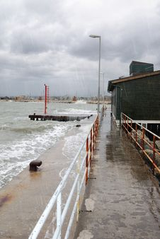 Storm On The Pier Royalty Free Stock Photo