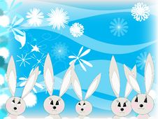 Family Of Hares Stock Photo