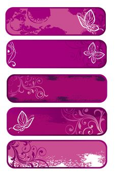 Free Set Of Spring Banners With Butterfly Stock Images - 18383264